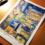 watercolor mixed media typography