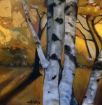 White Birches I - Acrylic and Gold Leaf